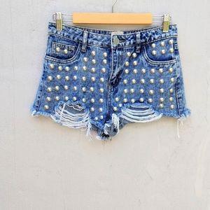 Gianni bini studded jean shorts